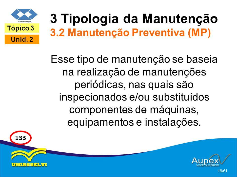 3 Tipologia da Manutenção 3.2 Manutenção Preventiva (MP)