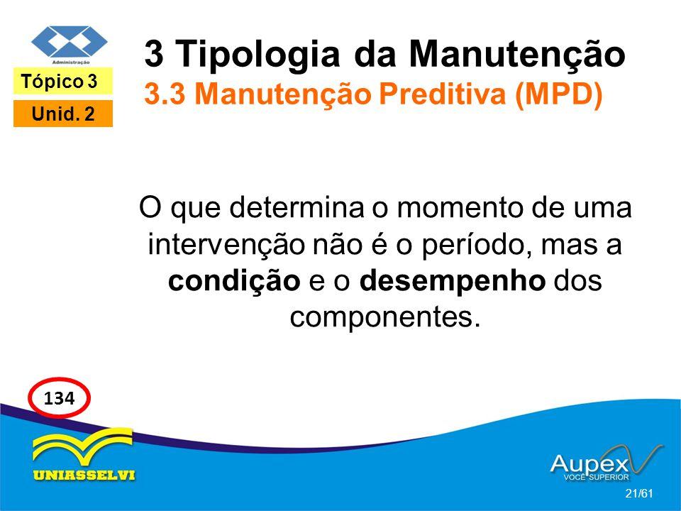 3 Tipologia da Manutenção 3.3 Manutenção Preditiva (MPD)