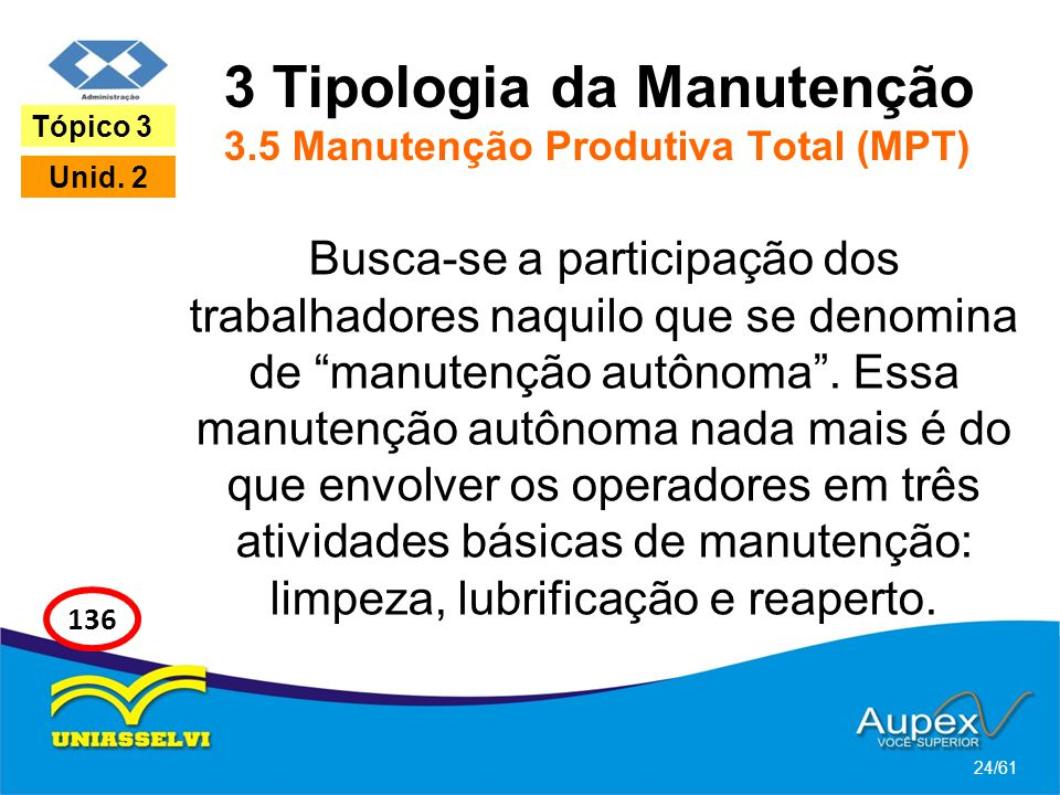 3 Tipologia da Manutenção 3.5 Manutenção Produtiva Total (MPT)