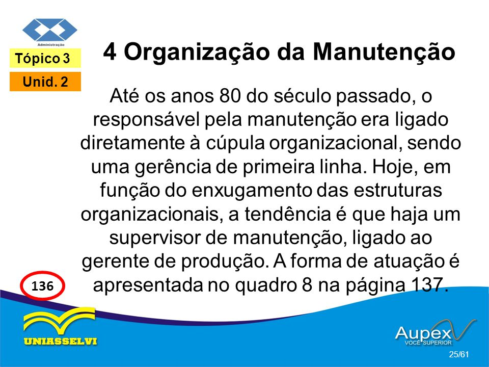 4 Organização da Manutenção