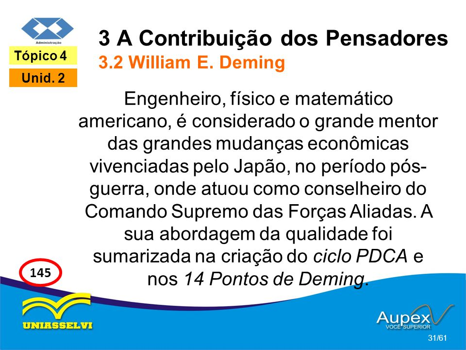 3 A Contribuição dos Pensadores 3.2 William E. Deming