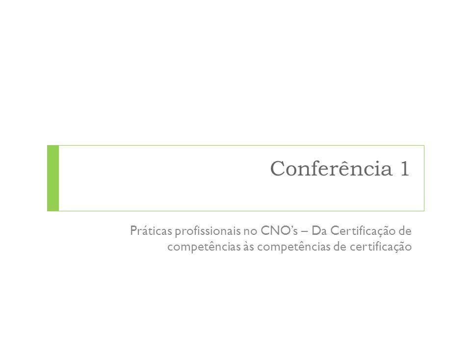 Conferência 1 Práticas profissionais no CNO's – Da Certificação de competências às competências de certificação.