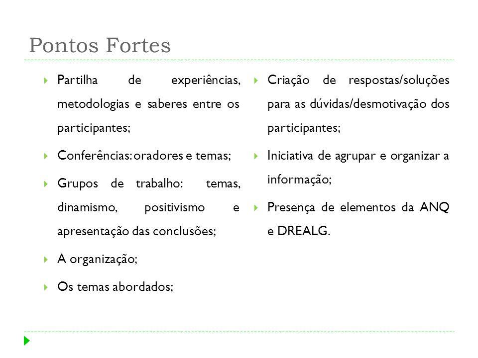 Pontos Fortes Partilha de experiências, metodologias e saberes entre os participantes;