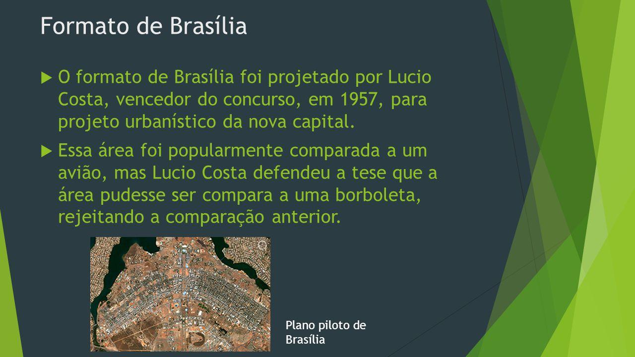 Formato de Brasília O formato de Brasília foi projetado por Lucio Costa, vencedor do concurso, em 1957, para projeto urbanístico da nova capital.