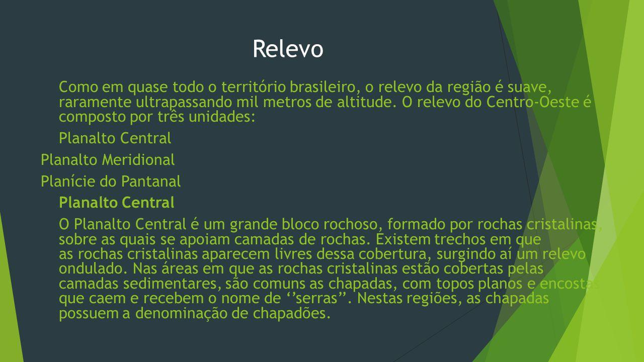 Relevo Planalto Central Planalto Meridional Planície do Pantanal