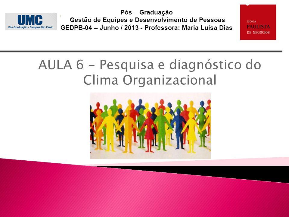AULA 6 - Pesquisa e diagnóstico do Clima Organizacional