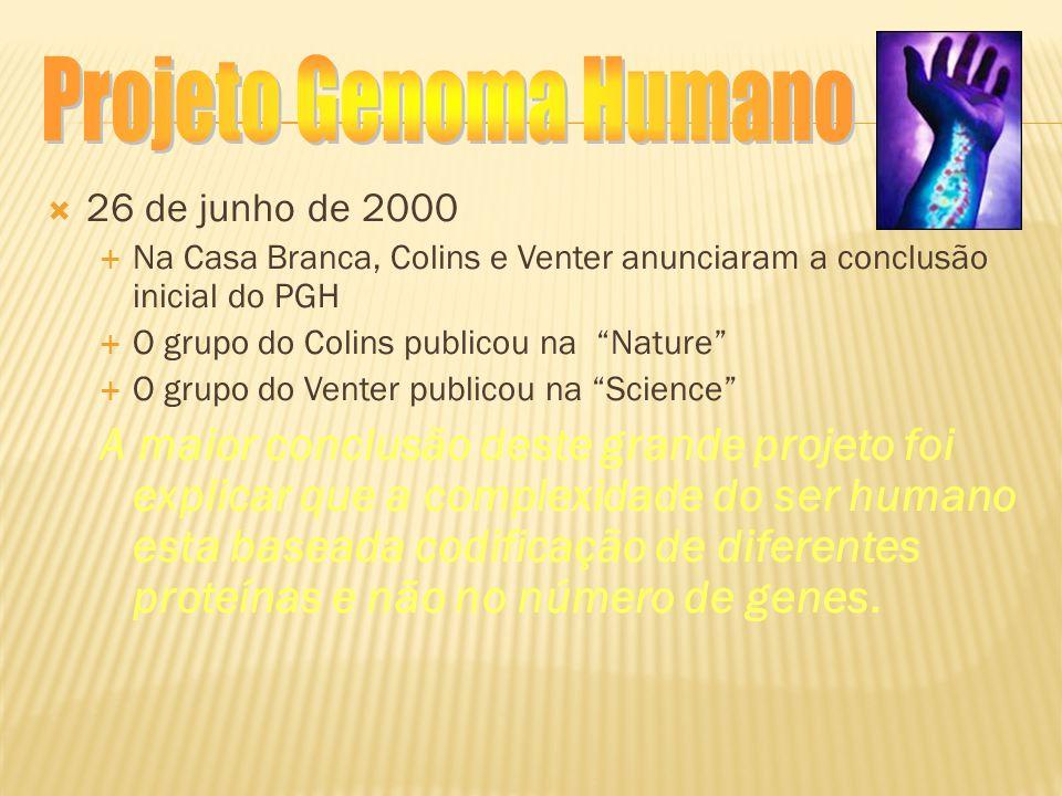 Projeto Genoma Humano 26 de junho de 2000. Na Casa Branca, Colins e Venter anunciaram a conclusão inicial do PGH.