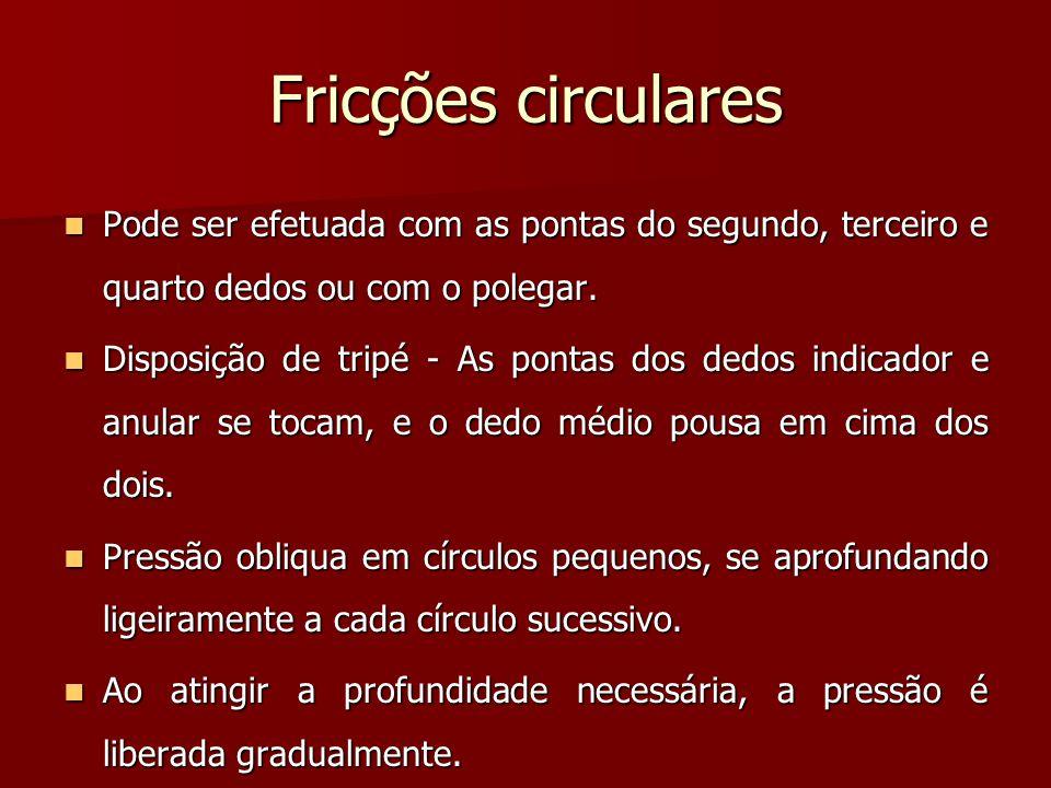 Fricções circulares Pode ser efetuada com as pontas do segundo, terceiro e quarto dedos ou com o polegar.