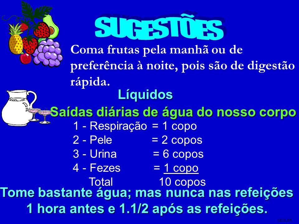SUGESTÕES Coma frutas pela manhã ou de preferência à noite, pois são de digestão rápida. Líquidos.