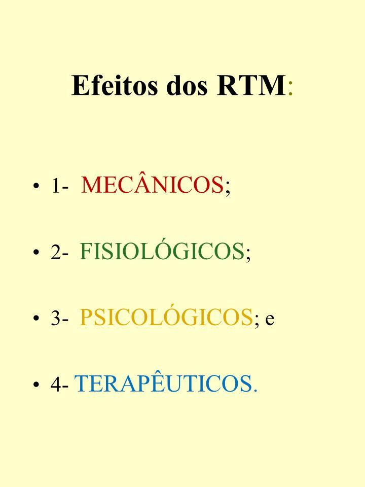 Efeitos dos RTM: 1- MECÂNICOS; 2- FISIOLÓGICOS; 3- PSICOLÓGICOS; e