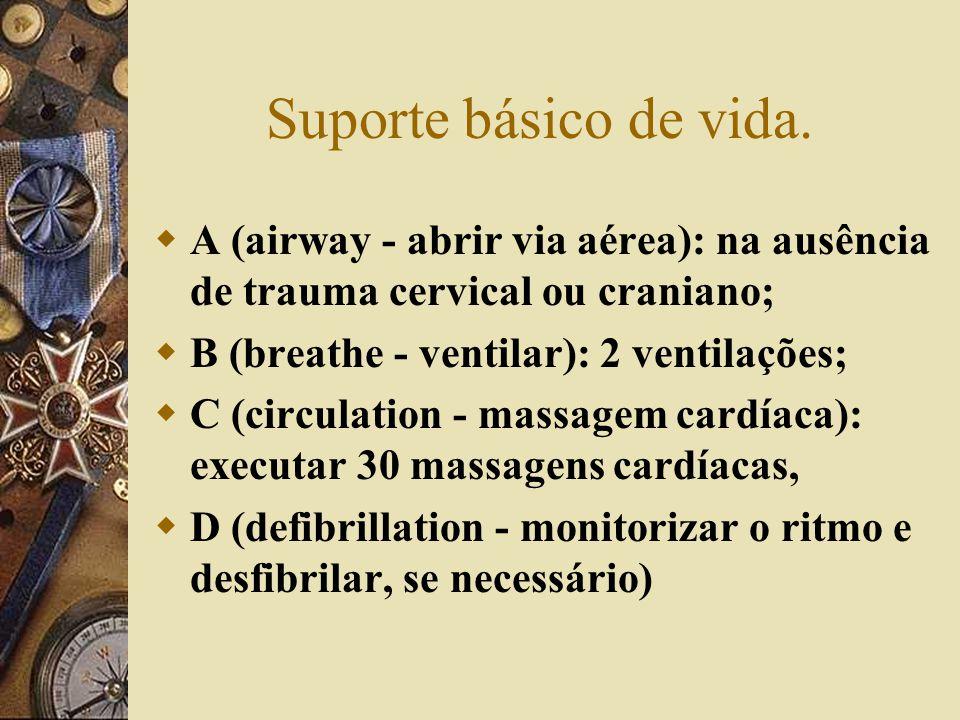 Suporte básico de vida. A (airway - abrir via aérea): na ausência de trauma cervical ou craniano; B (breathe - ventilar): 2 ventilações;