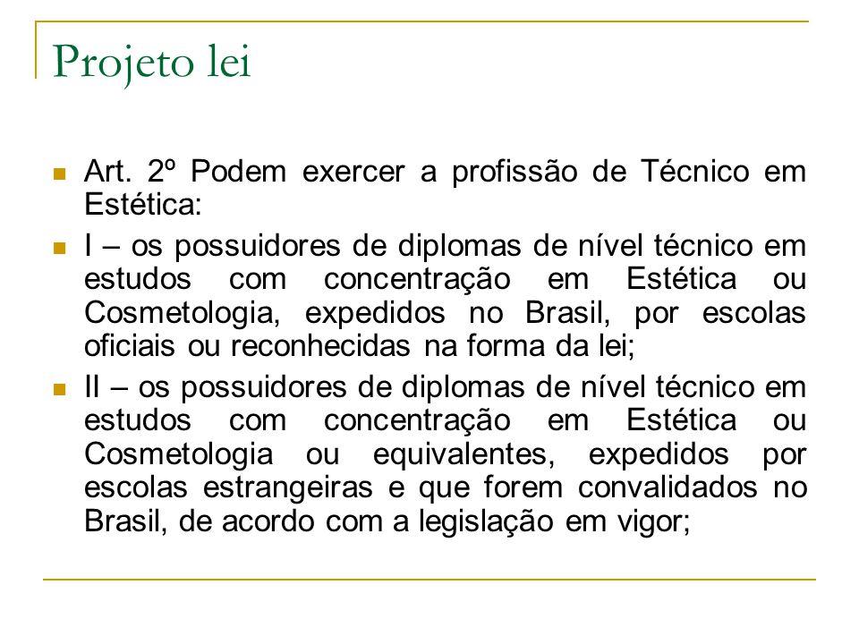 Projeto lei Art. 2º Podem exercer a profissão de Técnico em Estética: