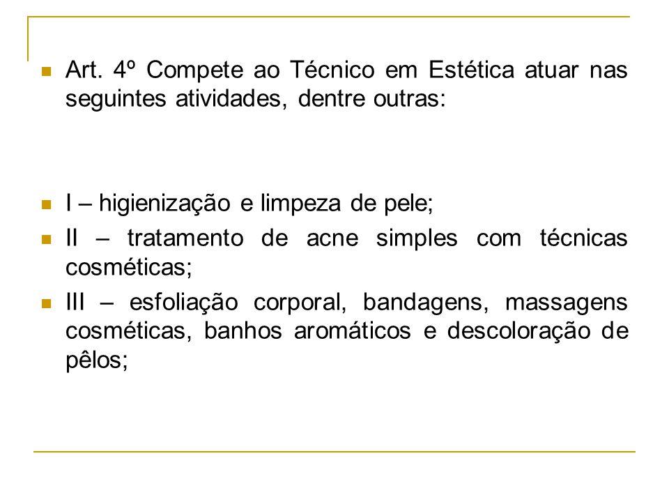 Art. 4º Compete ao Técnico em Estética atuar nas seguintes atividades, dentre outras: