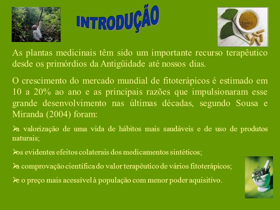 INTRODUÇÃO As plantas medicinais têm sido um importante recurso terapêutico desde os primórdios da Antigüidade até nossos dias.