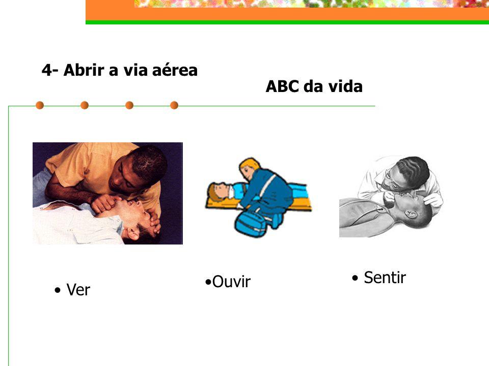 4- Abrir a via aérea ABC da vida Sentir Ouvir Ver
