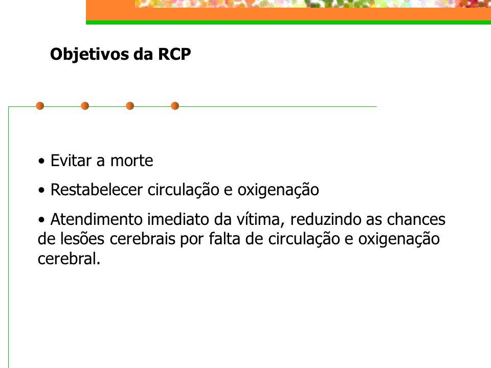 Objetivos da RCP Evitar a morte. Restabelecer circulação e oxigenação.