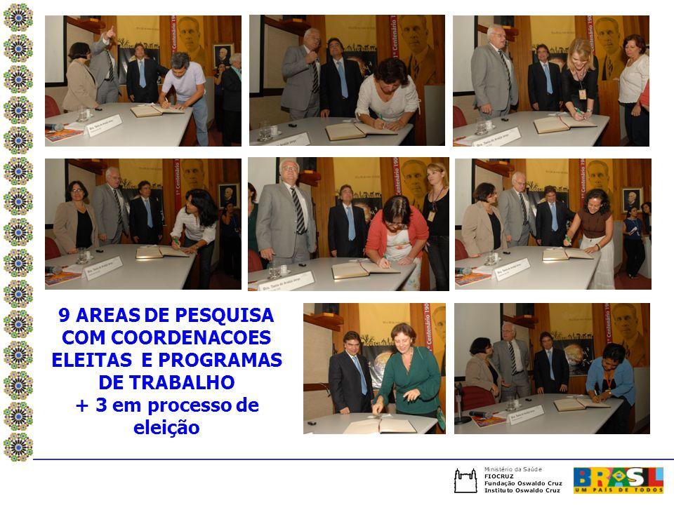 9 AREAS DE PESQUISA COM COORDENACOES ELEITAS E PROGRAMAS DE TRABALHO