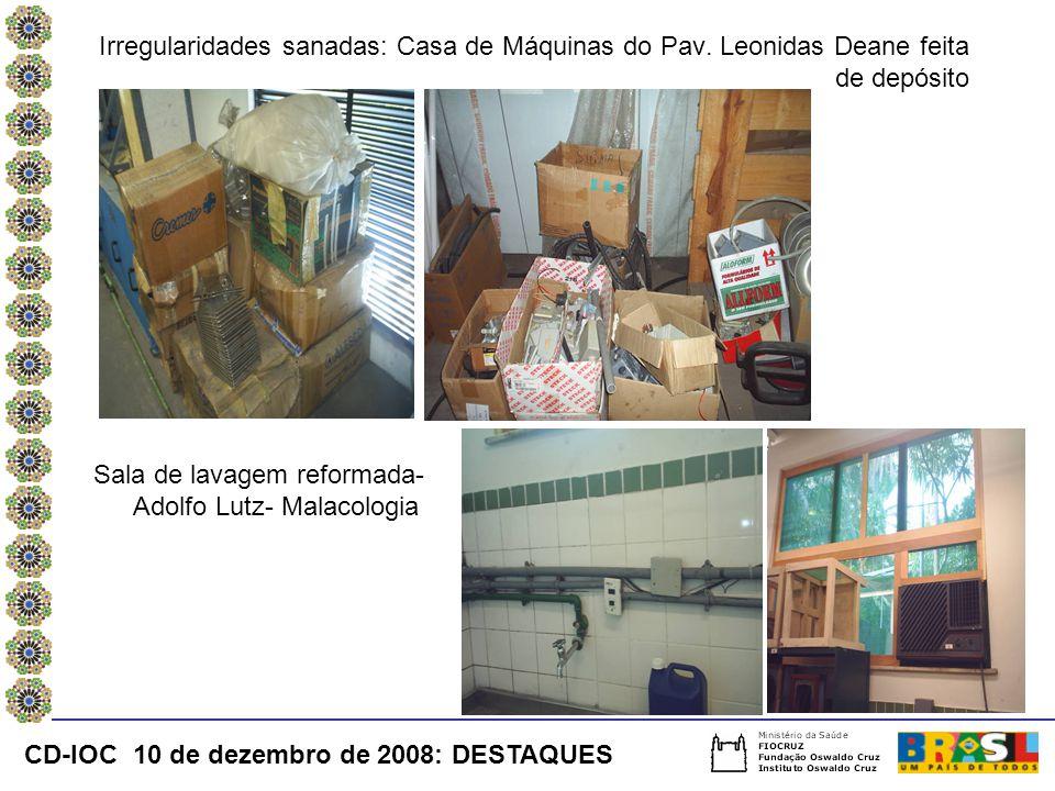 Irregularidades sanadas: Casa de Máquinas do Pav
