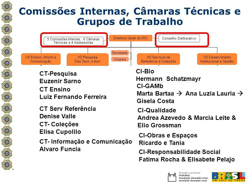 Comissões Internas, Câmaras Técnicas e Grupos de Trabalho