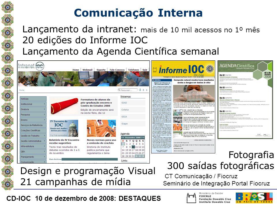 Comunicação Interna Lançamento da intranet: mais de 10 mil acessos no 1º mês 20 edições do Informe IOC.
