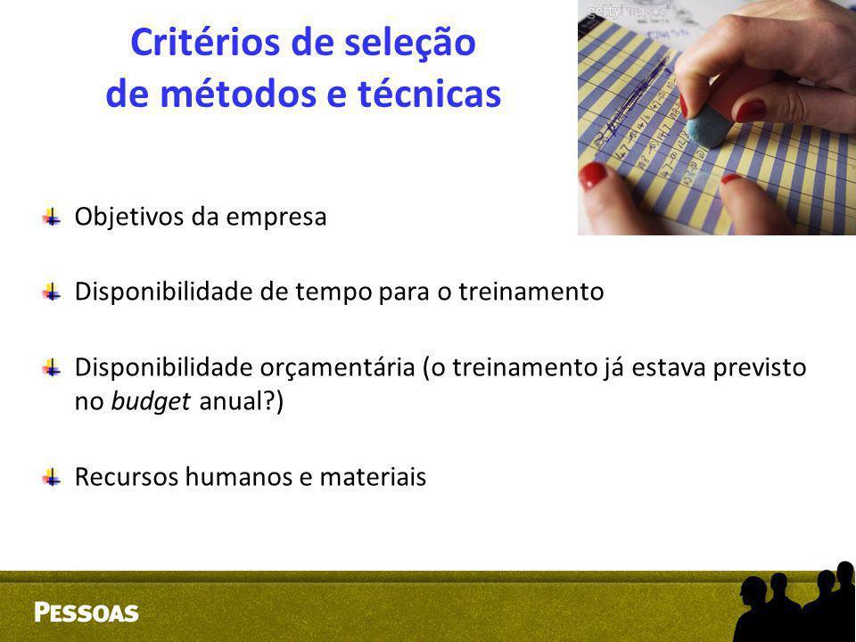 Critérios de seleção de métodos e técnicas