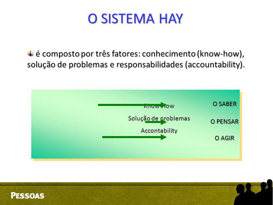 O SISTEMA HAY é composto por três fatores: conhecimento (know-how), solução de problemas e responsabilidades (accountability).