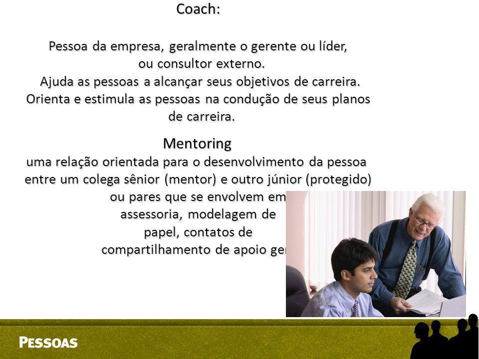 Coach: Mentoring Pessoa da empresa, geralmente o gerente ou líder,