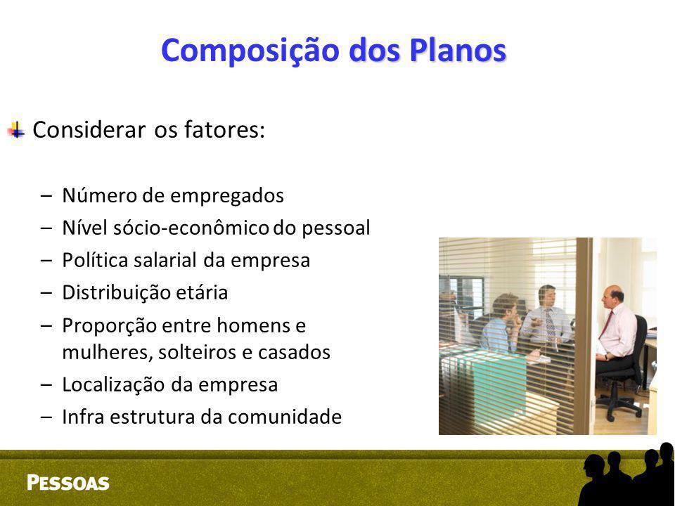 Composição dos Planos Considerar os fatores: Número de empregados