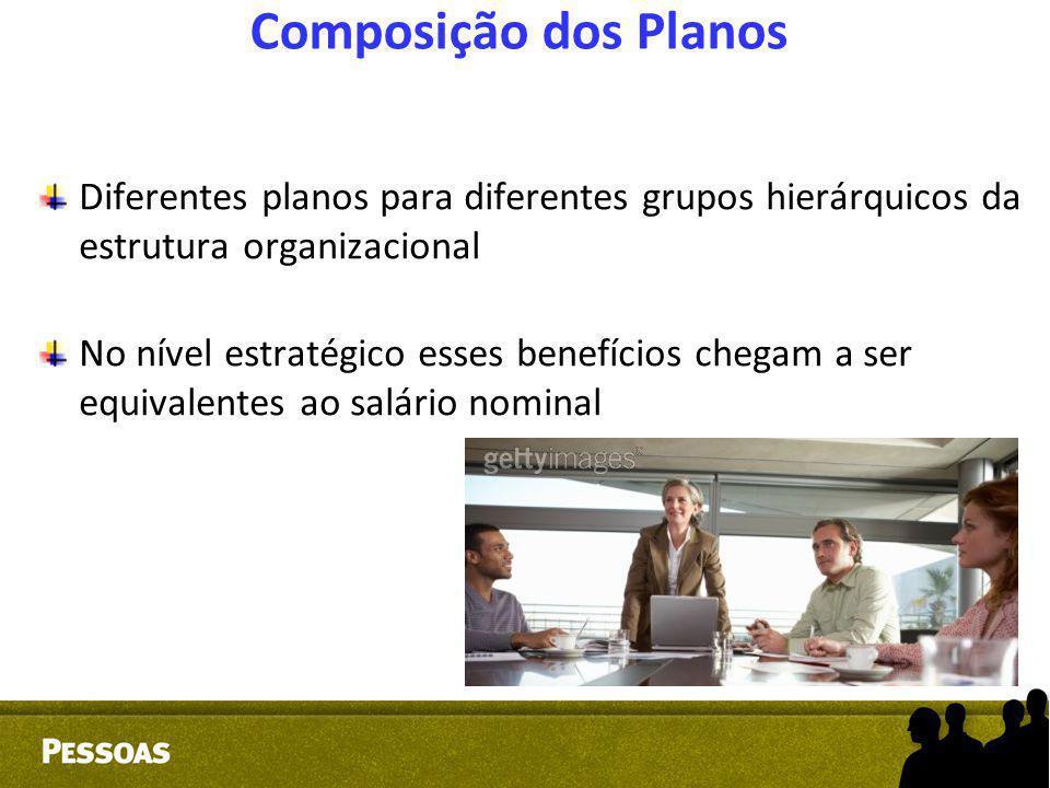 Composição dos Planos Diferentes planos para diferentes grupos hierárquicos da estrutura organizacional.