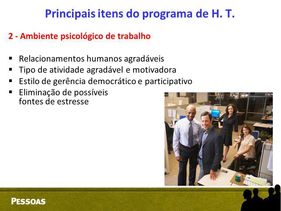 Principais itens do programa de H. T.