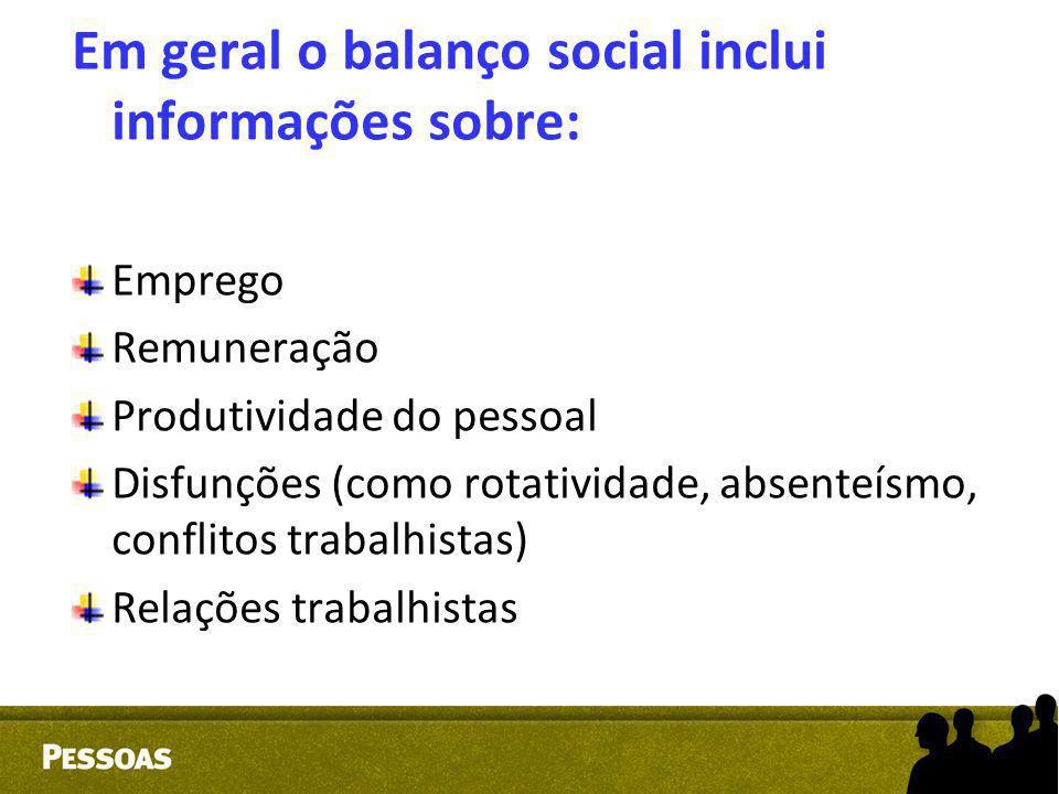 Em geral o balanço social inclui informações sobre: