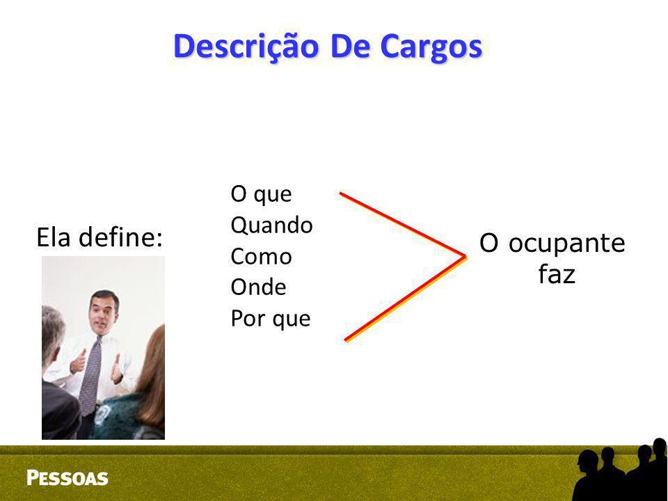 Descrição De Cargos Ela define: O que Quando Como Onde O ocupante