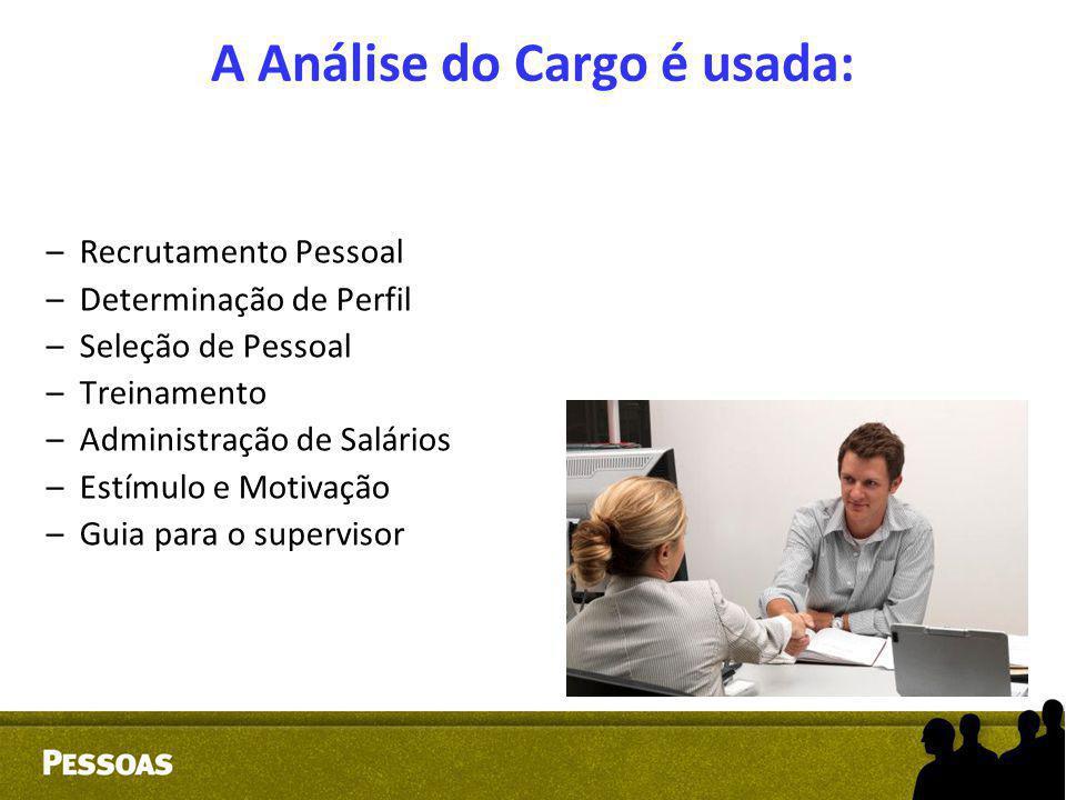 A Análise do Cargo é usada: