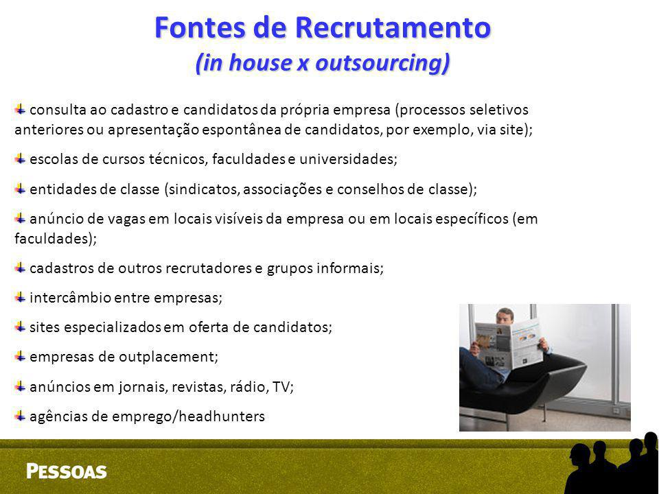 Fontes de Recrutamento (in house x outsourcing)
