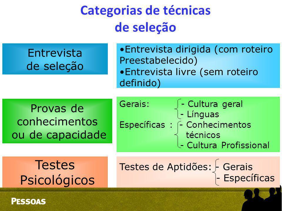 Categorias de técnicas de seleção