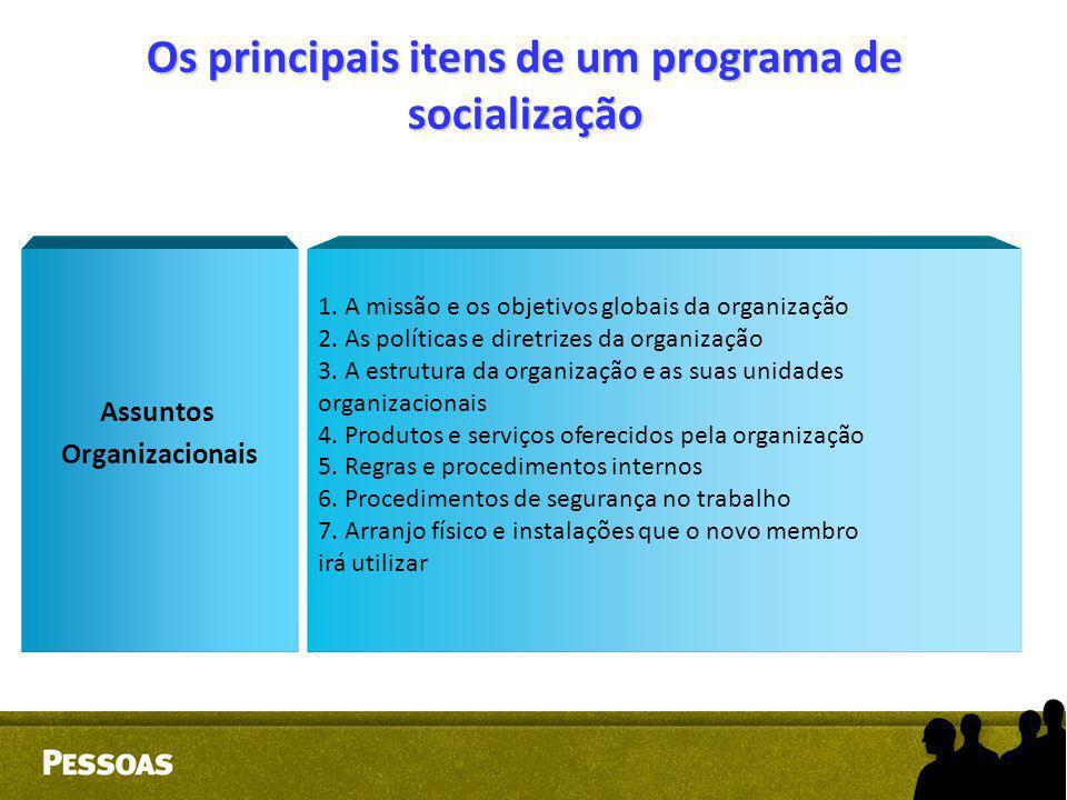 Os principais itens de um programa de socialização