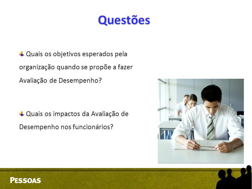 Questões Quais os objetivos esperados pela organização quando se propõe a fazer Avaliação de Desempenho
