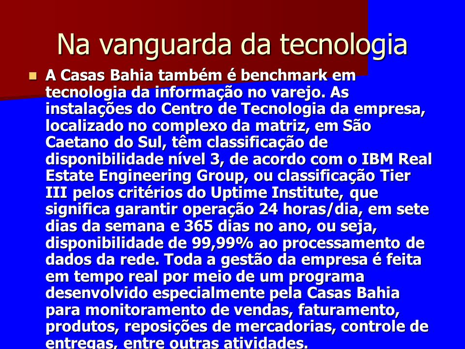 Na vanguarda da tecnologia