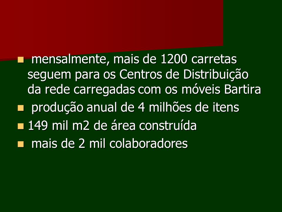 mensalmente, mais de 1200 carretas seguem para os Centros de Distribuição da rede carregadas com os móveis Bartira