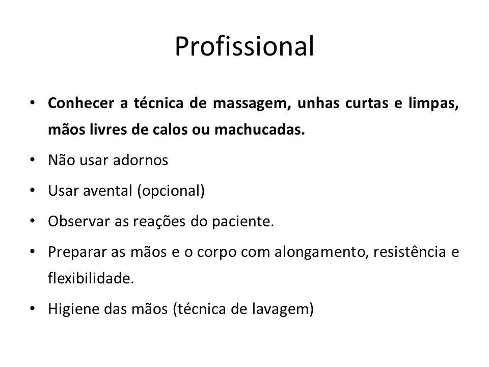 Profissional Conhecer a técnica de massagem, unhas curtas e limpas, mãos livres de calos ou machucadas.
