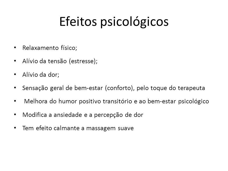 Efeitos psicológicos Relaxamento físico; Alívio da tensão (estresse);