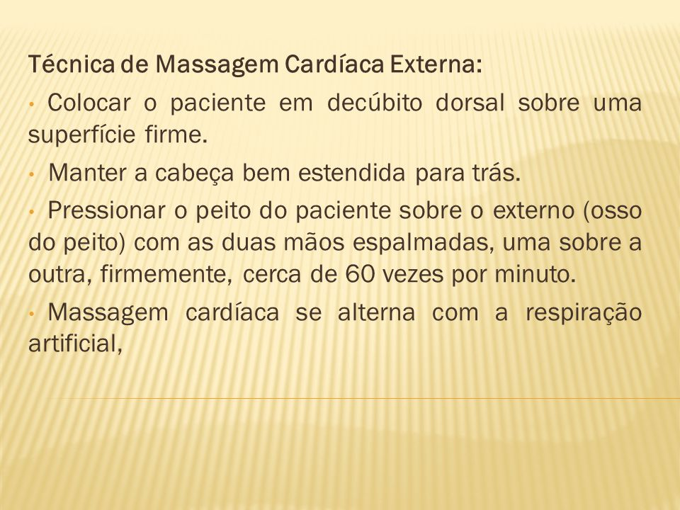 Técnica de Massagem Cardíaca Externa: