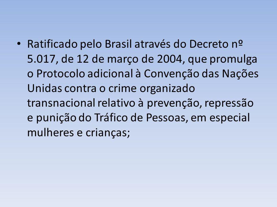 Ratificado pelo Brasil através do Decreto nº 5