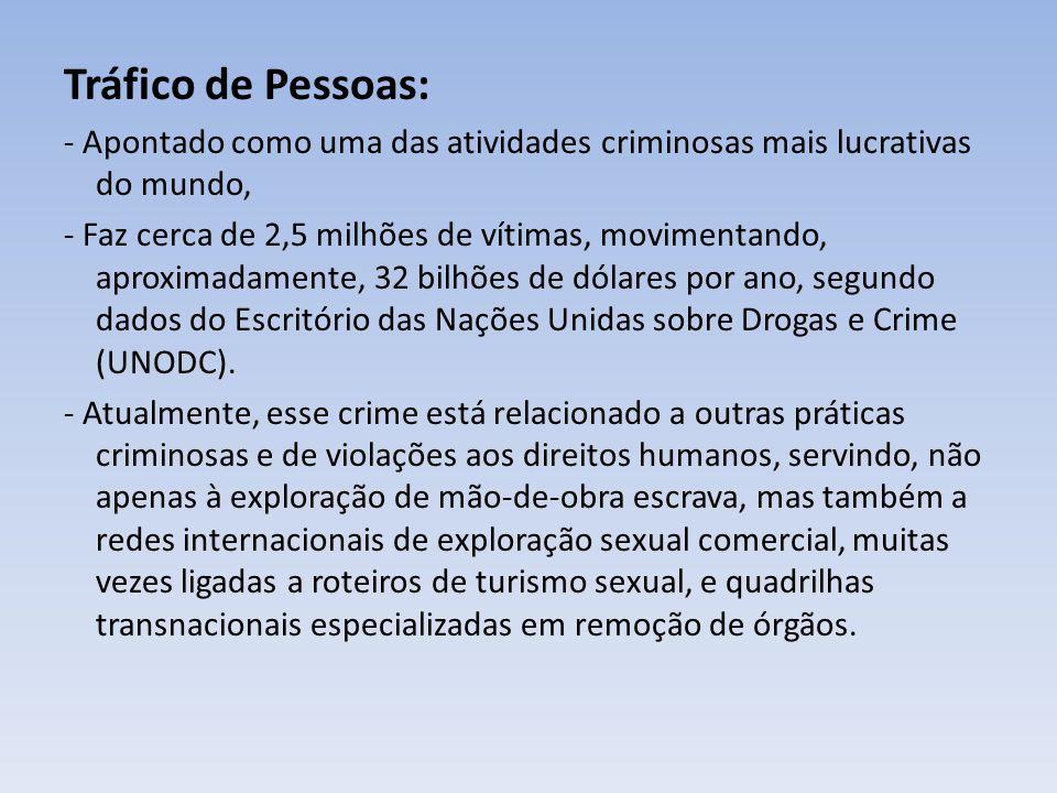 Tráfico de Pessoas: - Apontado como uma das atividades criminosas mais lucrativas do mundo,