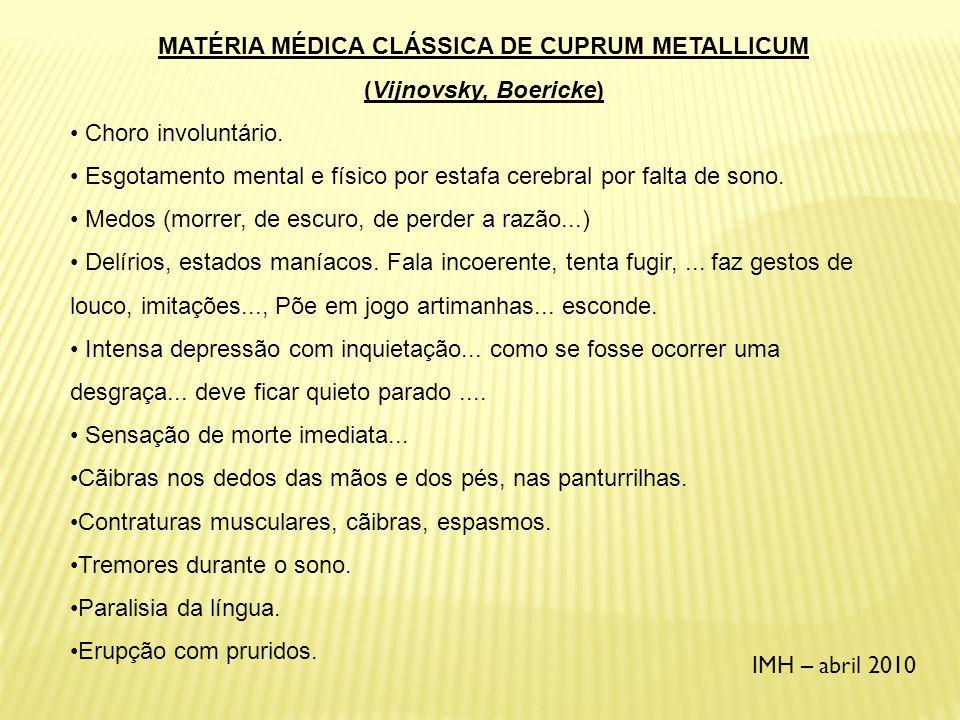 MATÉRIA MÉDICA CLÁSSICA DE CUPRUM METALLICUM