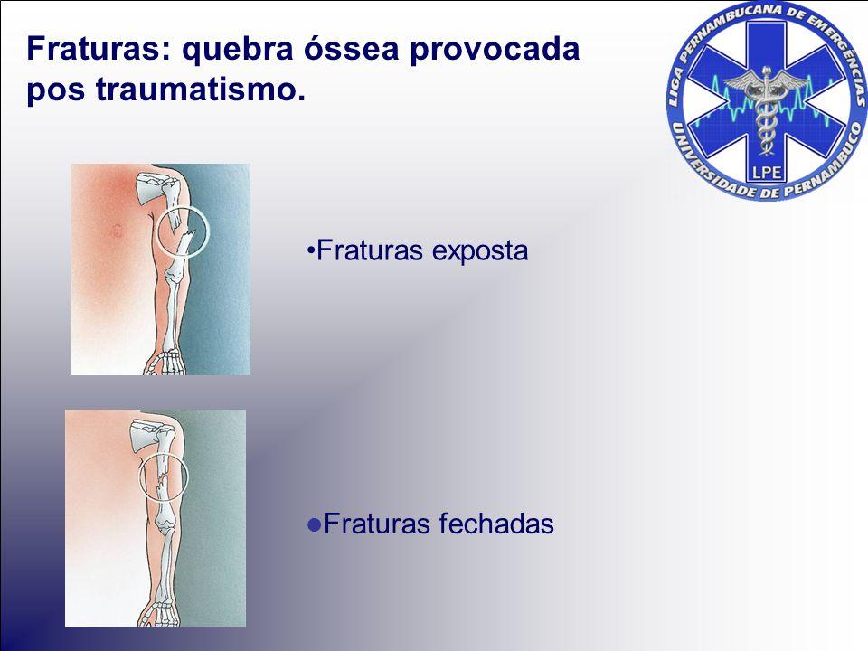 Fraturas: quebra óssea provocada pos traumatismo.