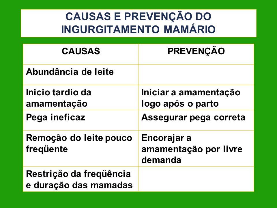 CAUSAS E PREVENÇÃO DO INGURGITAMENTO MAMÁRIO