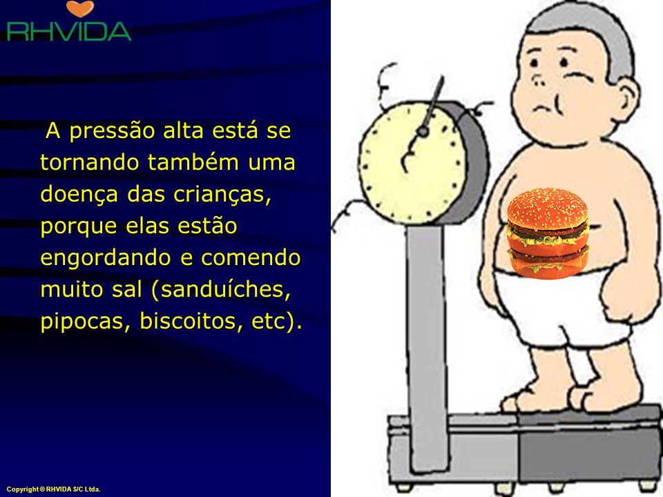 A pressão alta está se tornando também uma doença das crianças, porque elas estão engordando e comendo muito sal (sanduíches, pipocas, biscoitos, etc).