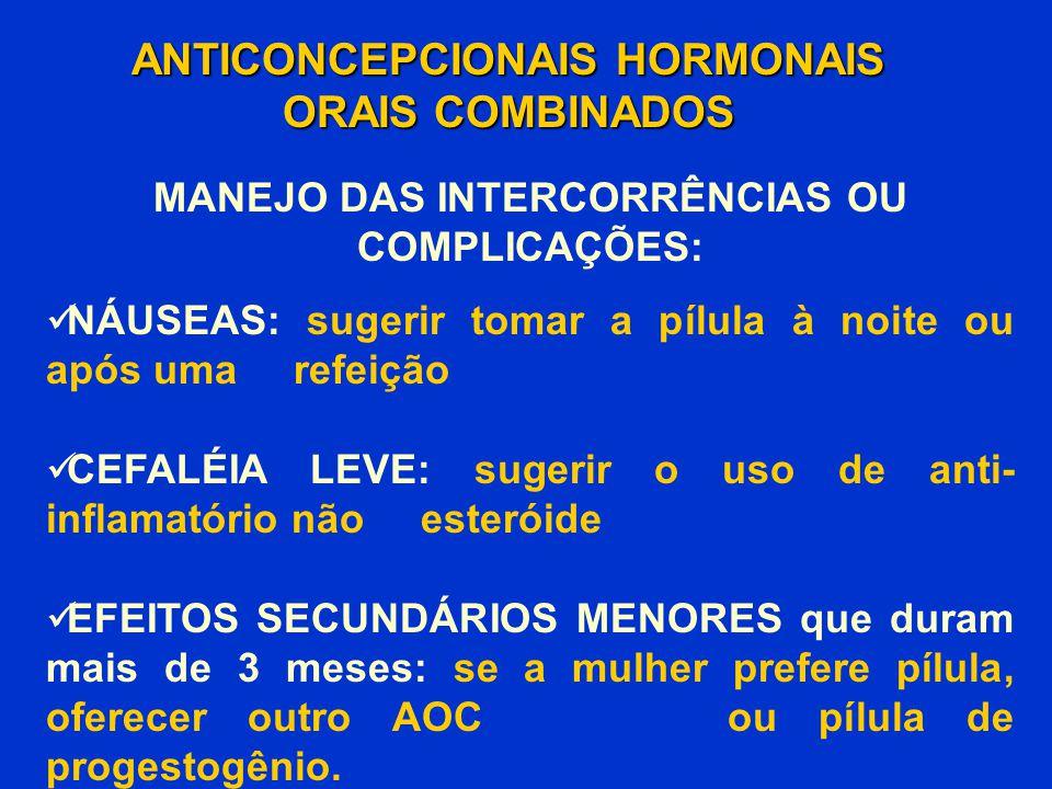 ANTICONCEPCIONAIS HORMONAIS ORAIS COMBINADOS