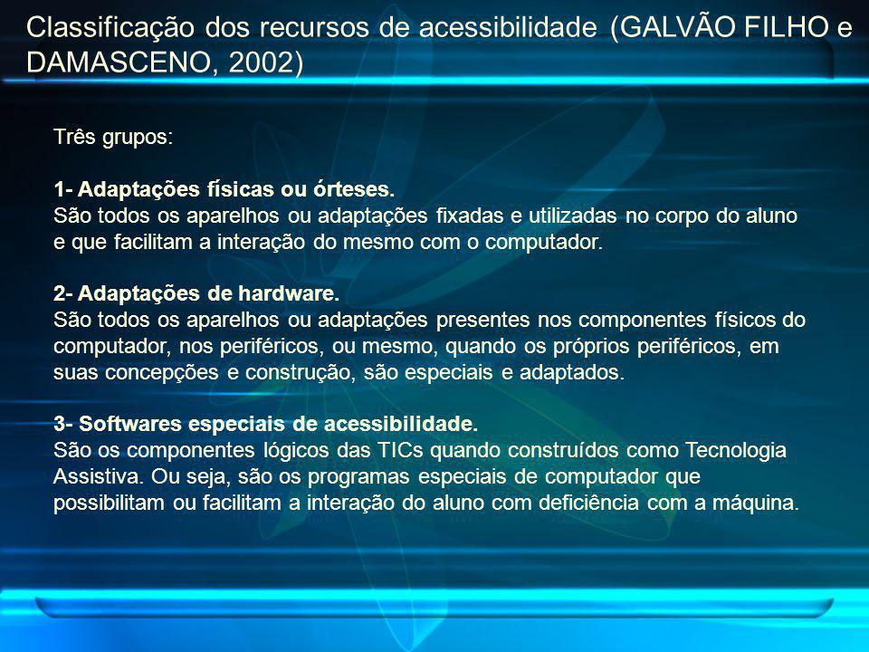 Classificação dos recursos de acessibilidade (GALVÃO FILHO e DAMASCENO, 2002)